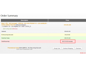 bandwagonhost搬瓦工KVM 1H1G年付46.6美元 可切换机房CN2直连电信联通支付宝