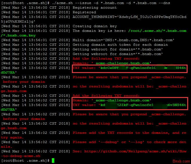 Let's Encrypt Wildcard免费SSL泛域名证书(野卡)签署方法 acme.sh脚本签署免费泛域名证
