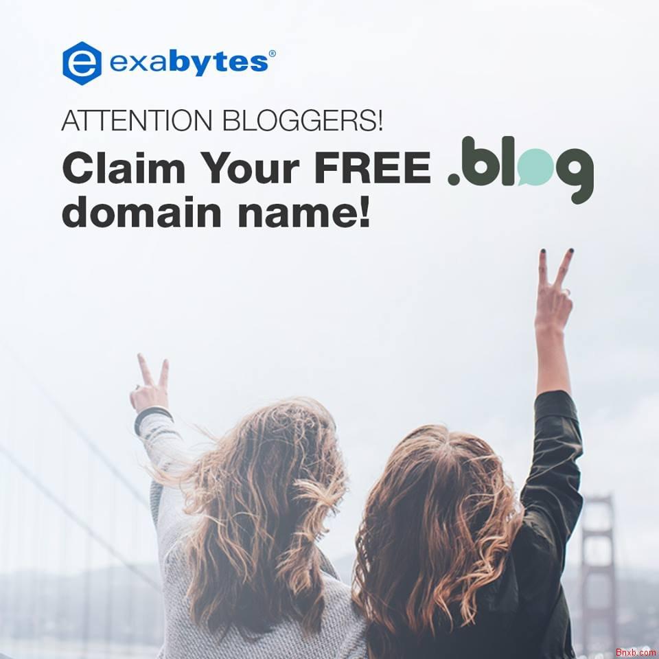 免费一年.BLOG顶级域名注册 Exabytes提供